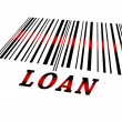 Loan on barcode — Stock Photo