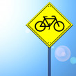 Bike sign on road sign — Stock Photo