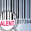 Talent on barcode — Stock Photo