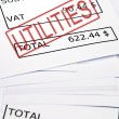 Utilities stamp on financial paper — Stock Photo