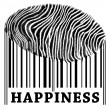 Happiness on barcode — Stock Photo