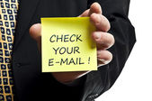 Check your e-mail post it — Stock Photo