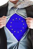Europe Union flag on shirt — Stock Photo