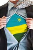 Bandiera ruanda sulla camicia — Foto Stock