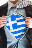Greece flag on shirt — Stock Photo