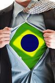 Brasil flag on shirt — Stock Photo