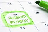Husband birthday mark — Stock Photo
