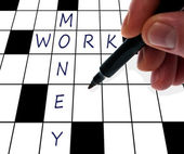 Crossword money and work — Stock Photo