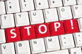 Stop word on keyboard — Stock Photo
