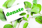 Donate message on leaves — Stock Photo