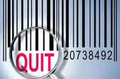 Quit on barcode — Stock Photo
