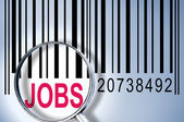 Jobs on barcode — Stock Photo
