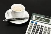 Loan on calculator — Stock Photo