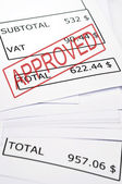 Approved stamp on financial paper — Stock Photo