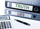 Truth and Lies write on folder — Stock Photo