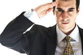 Business man salute — Stock Photo