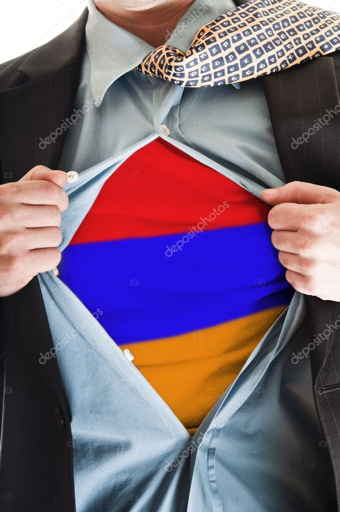 Business man showing Armenia flag shirt — Stock Photo #6240154