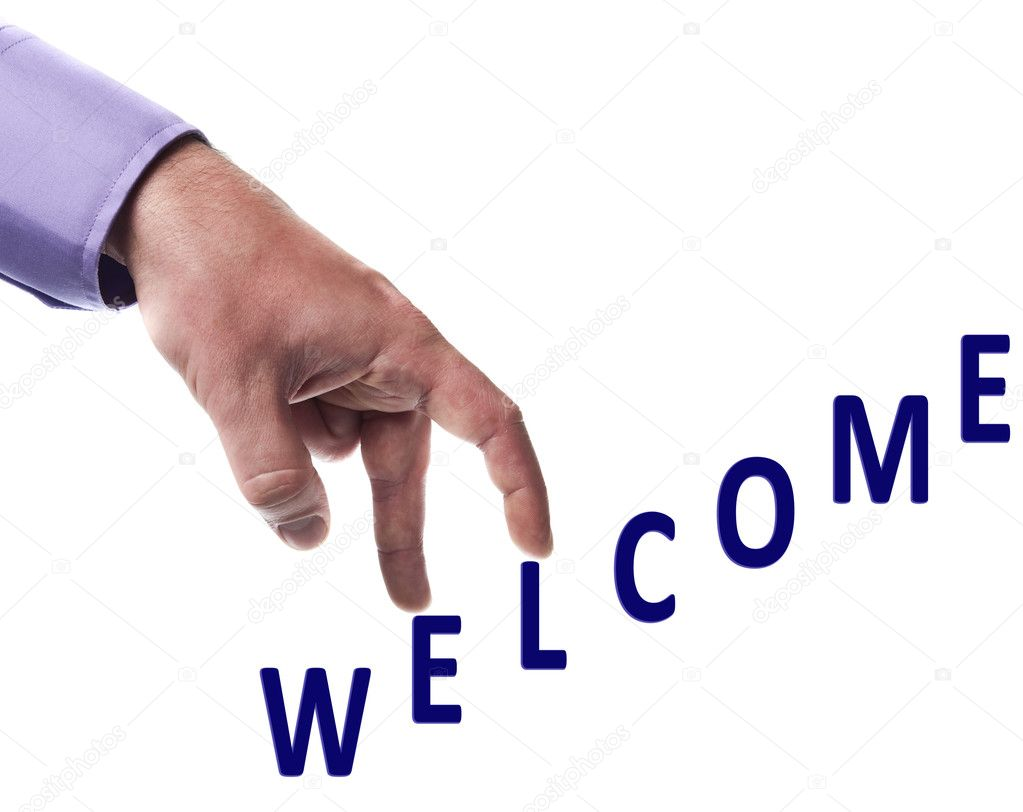 Male fingers climb welcome word  Foto Stock #6240792