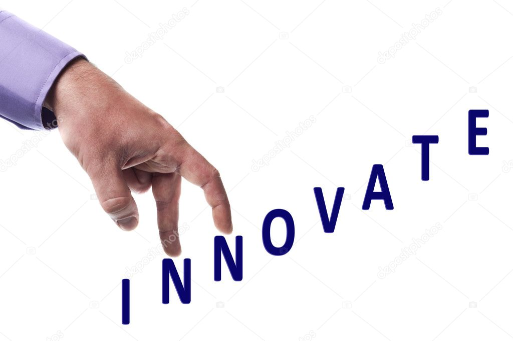 Male fingers climb innovate word — Stock Photo #6240804