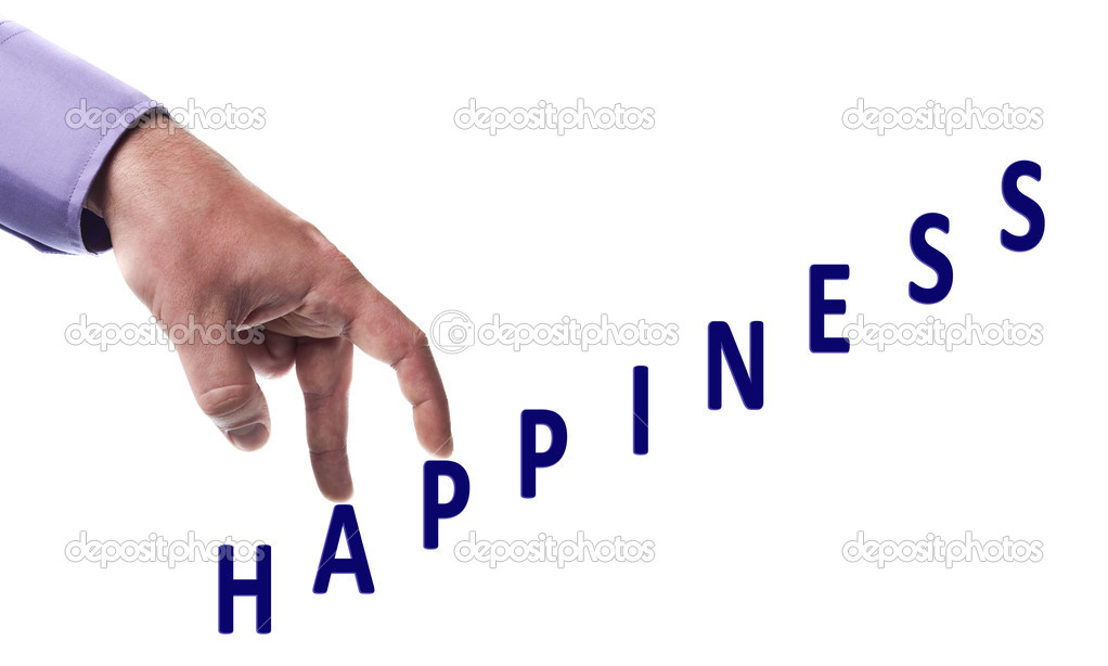 Male fingers climb happiness word — Stock Photo #6240810