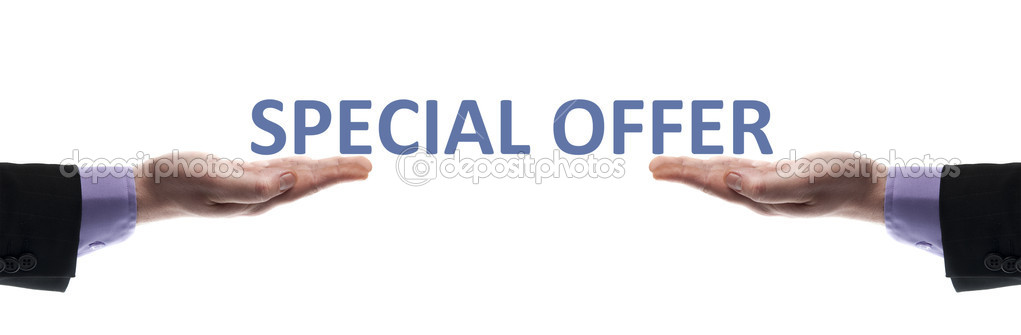 Special offer message in male hands — Stock Photo #6240829