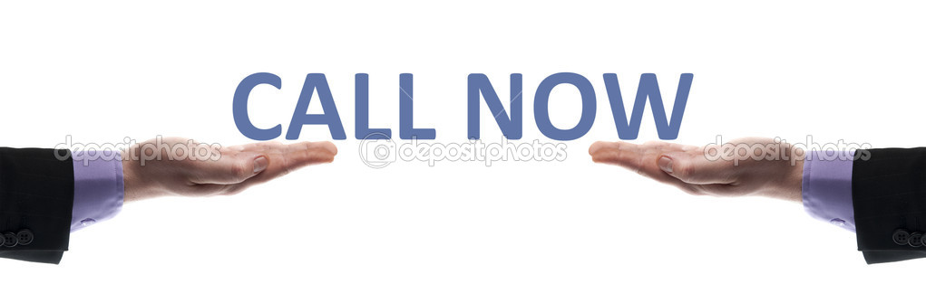 Call now message in male hands — Stock Photo #6240852
