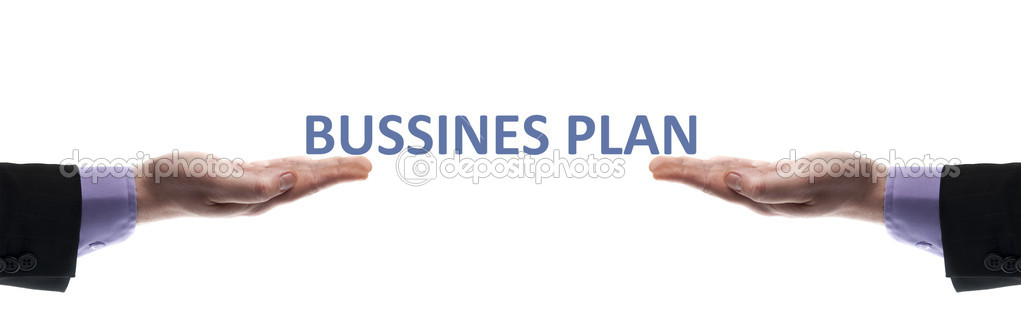 Business plan message in male hands — 图库照片 #6240853