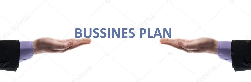 Business plan message in male hands — Stock Photo #6240853