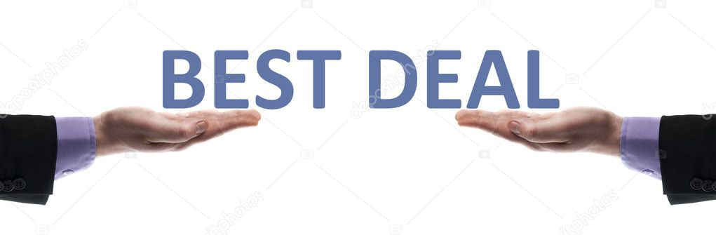 Best deal message in male hands — Stock Photo #6240858