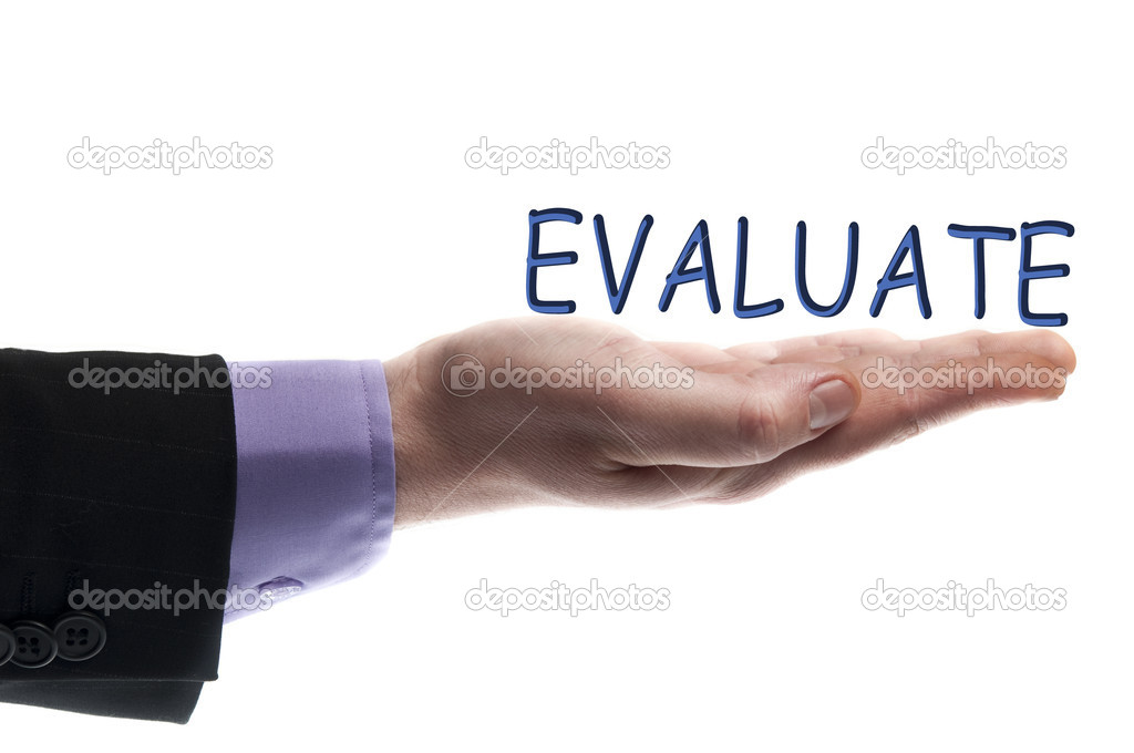 Evaluate word in male hand — Stock Photo #6241164