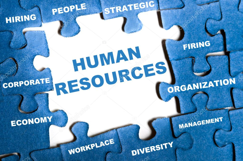 Human resource blue puzzle pieces assembled — Stock Photo #6241267