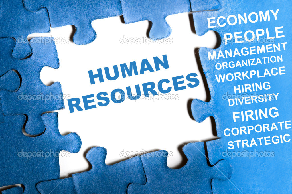 Human resource blue puzzle pieces assembled — Stock Photo #6241297