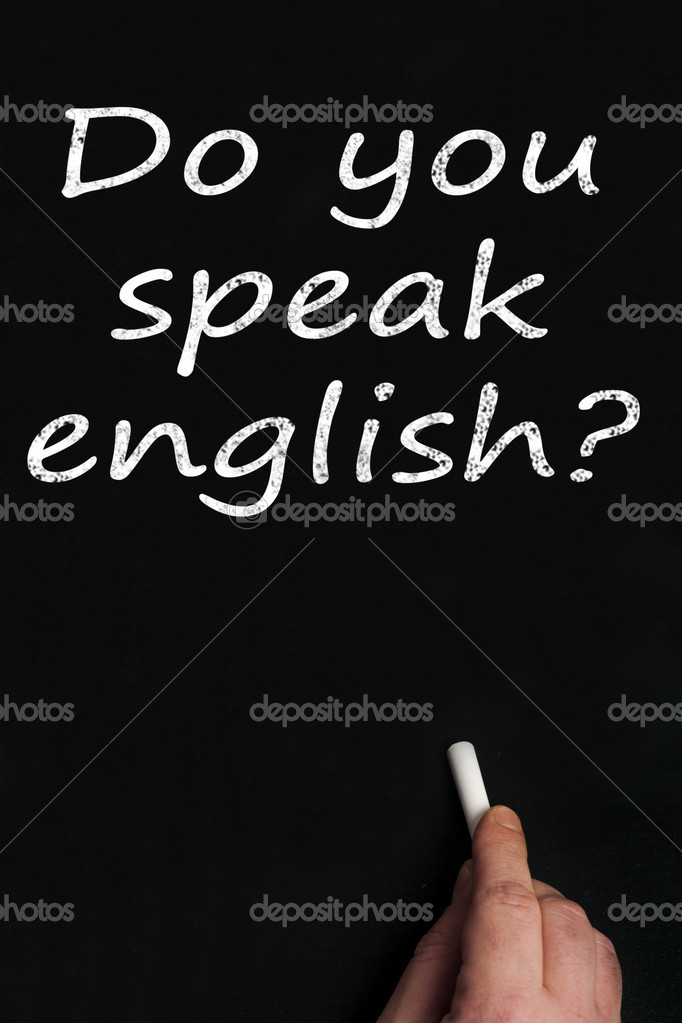 Do you speak english? write on black board  Stock Photo #6241364