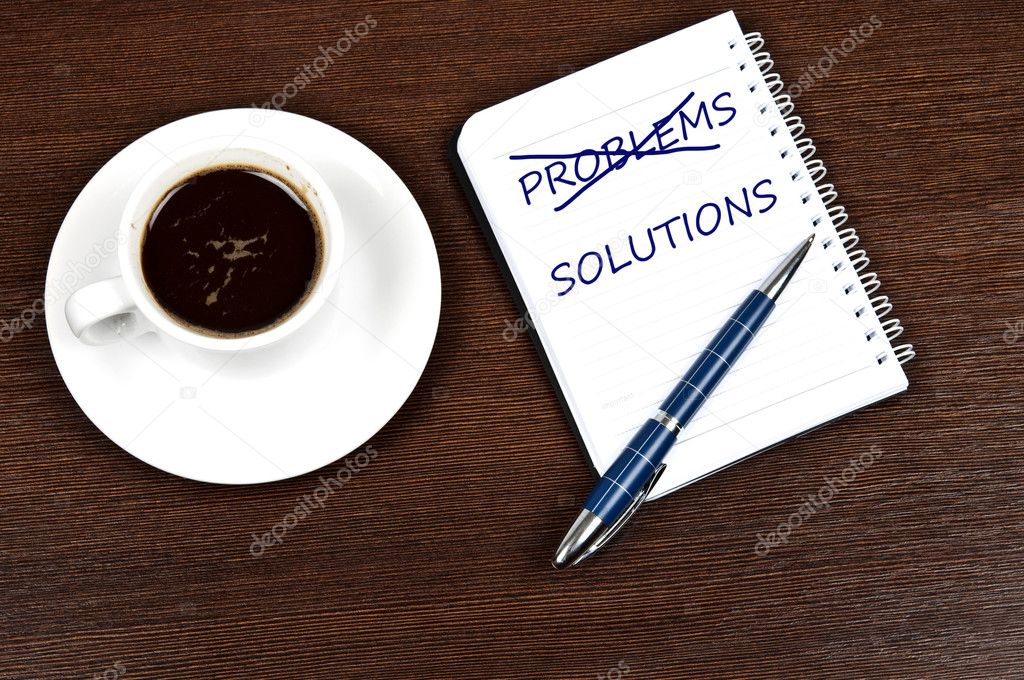 Problem solution message and coffee  Stock Photo #6241708