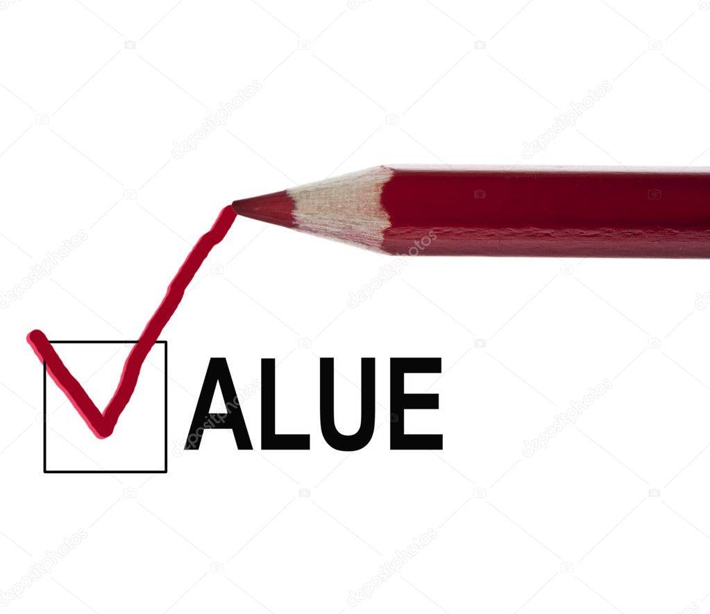 Value message and red pencil — Stock Photo #6241805