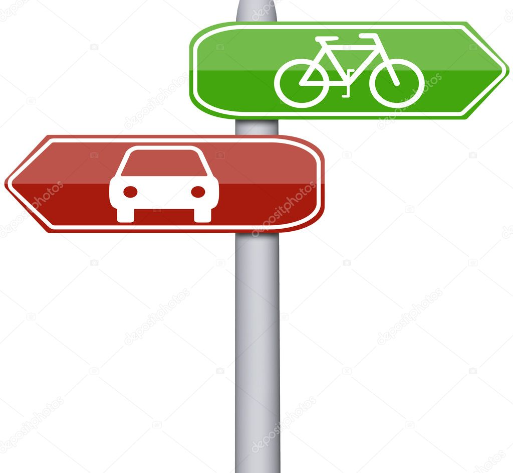 Bike and car sign on road sign — Stock Photo #6242722