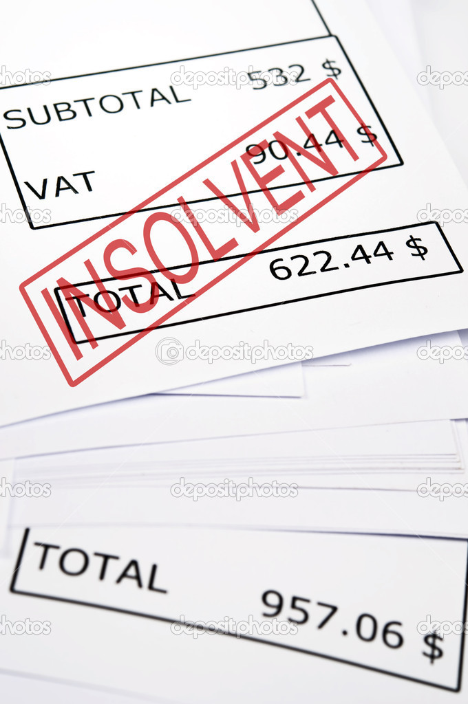 Insolvent stamp on financial paper — Stock Photo #6242869