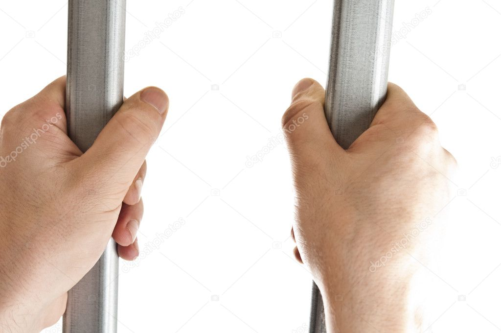 Isolated hands on jail bars — Stock Photo #6243106