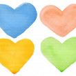 Watercolor hearts — Stock Photo