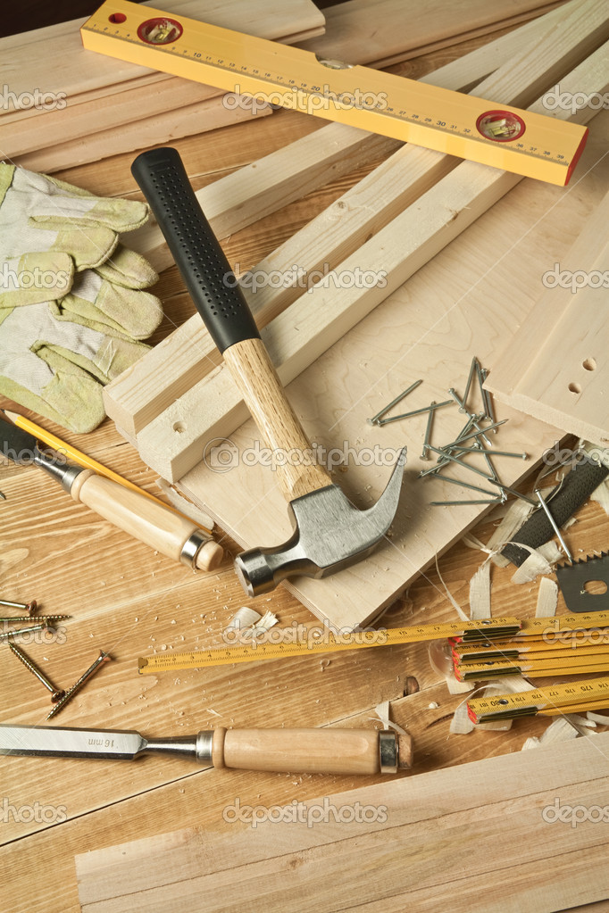 Wooden workshop table with tools. — Stock Photo #5647733