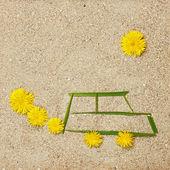 砂のエコ車のイラスト — ストック写真