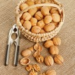 Walnut in basket and nut cracker — Stock Photo