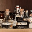 Various pharmacy bottles of homeopathic medicine - Stock Photo