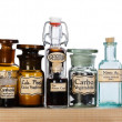 various pharmacy bottles of homeopathic medicine — Stock Photo
