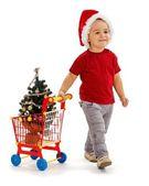Little boy pulling shopping cart with Xmas tree — Stock Photo