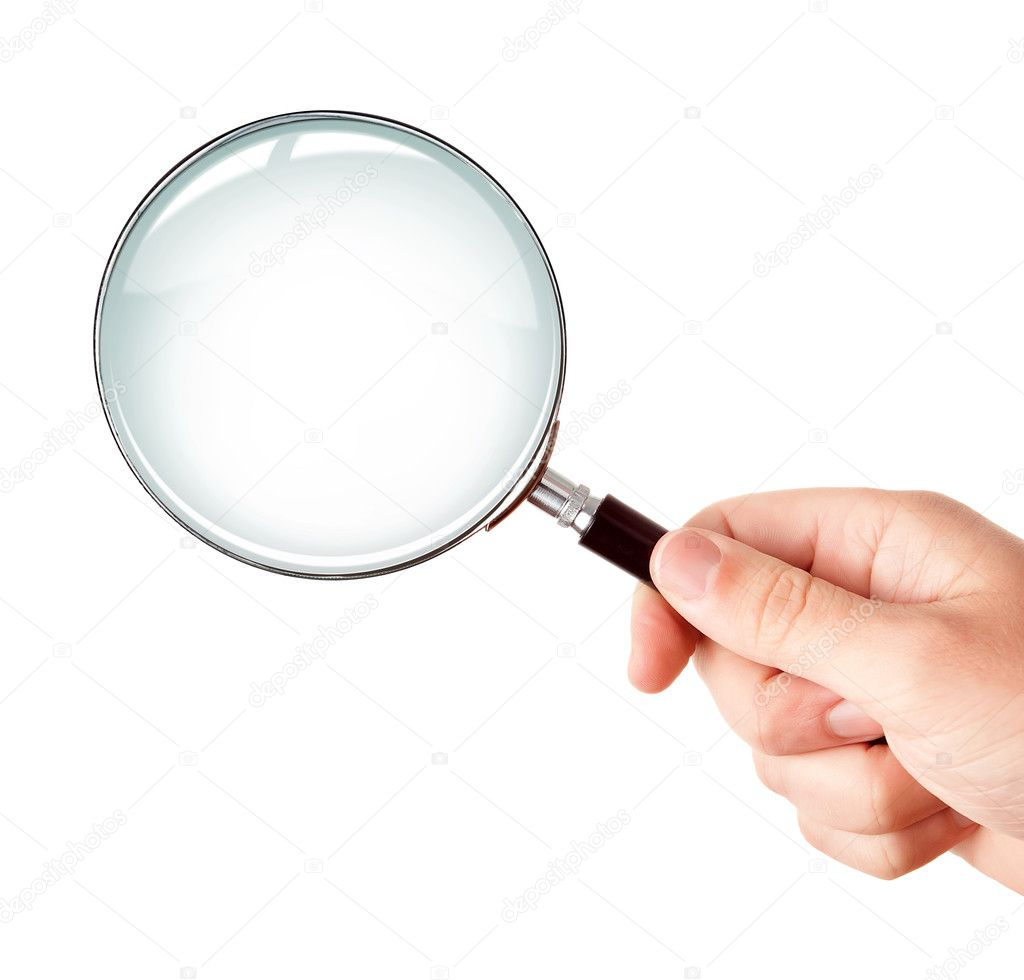 magnifying glass in hand isolated stock photo dingalt 6541053
