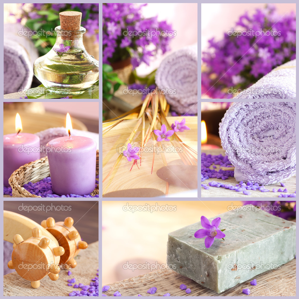 Collage of spa products.  Stock Photo #5819919