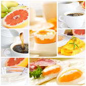 Healthy breakfast collage — Stock Photo