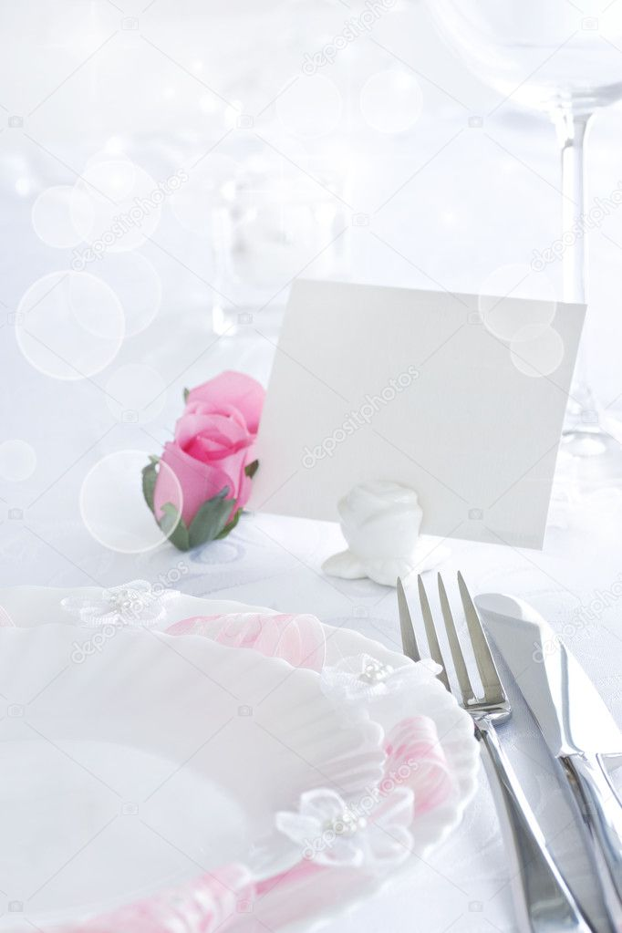 Table setting for romantic dinner or wedding — Stock Photo #5821032