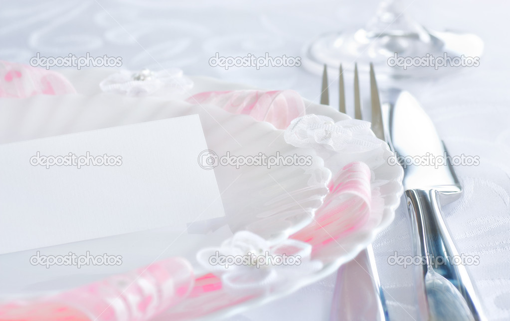 Table setting for romantic dinner or wedding — Stock fotografie #5821163